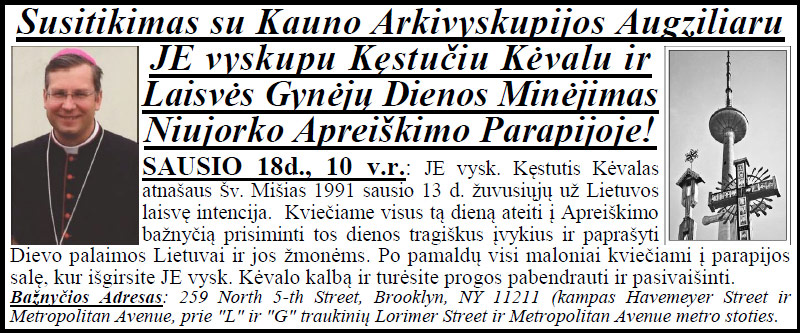 Vyskupas Kęstutis Kėvalas NY Apreiškimo bažnyčioje 2015m. sausio 18 d.